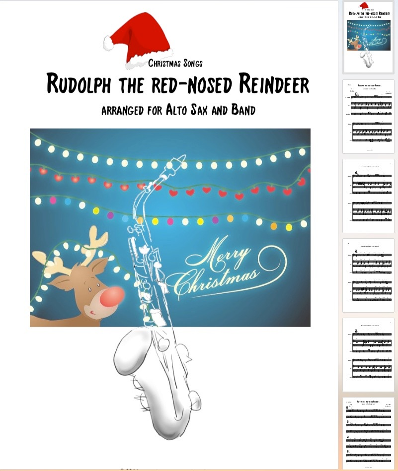 Rudolph the red-nosed Reindeer for Alto Saxophone and Band
