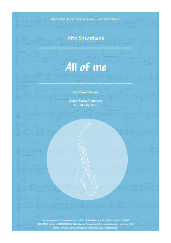 """All of me"" for Alto Saxophone including play-along"