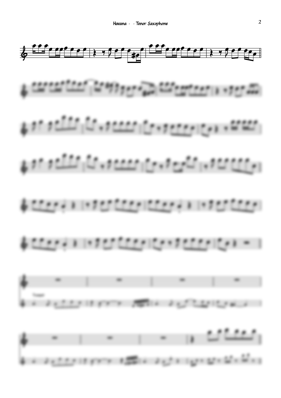 """Havana"" by Camila Cabello for Tenor Saxophone including Play-Along"