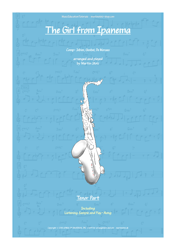 """""""The Girl from Ipanema"""" for Tenor Saxophone including play-along"""