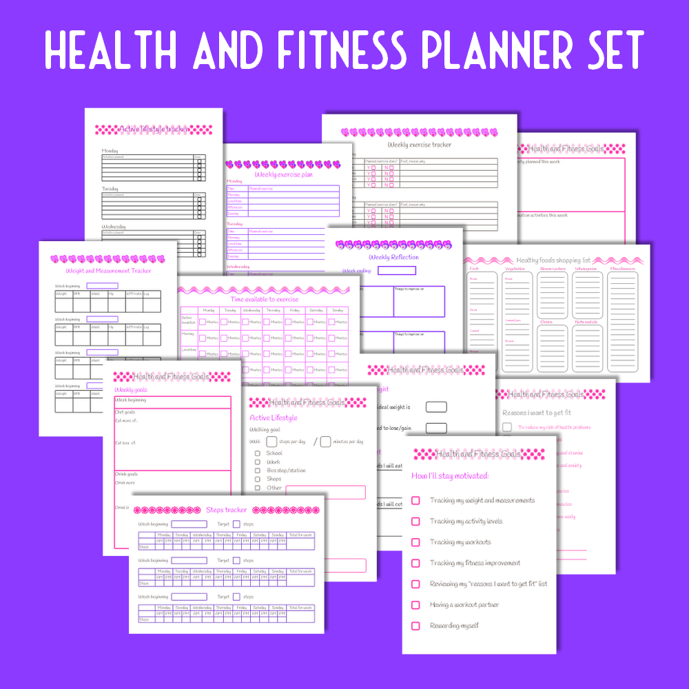 Health & Fitness Planner Set