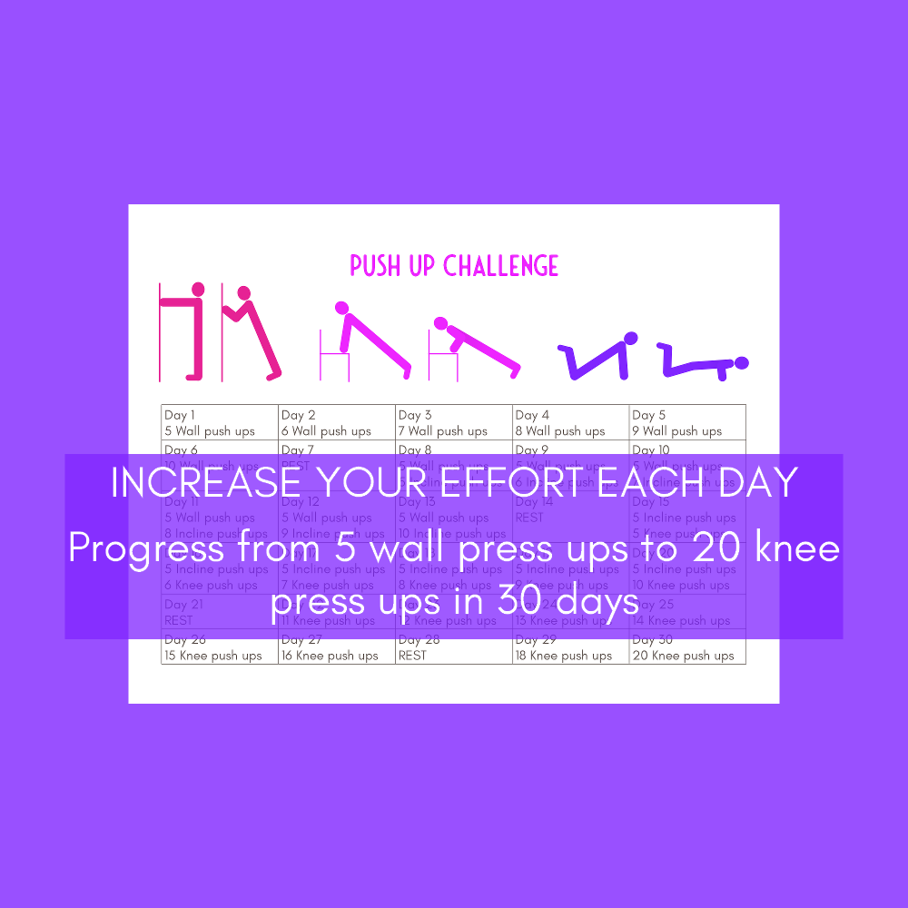 30 day push ups challenge printables set with stickers