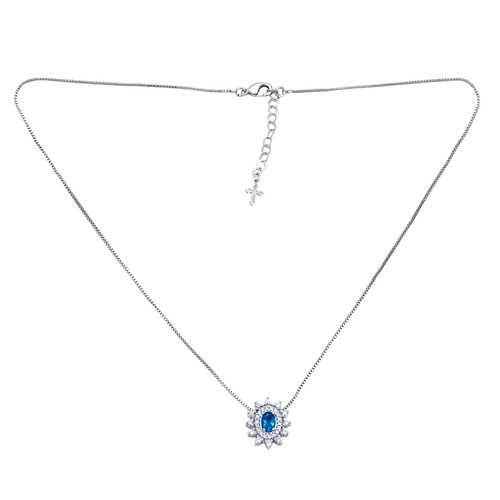 Sterling Silver Created Sapphire Cluster Pendant