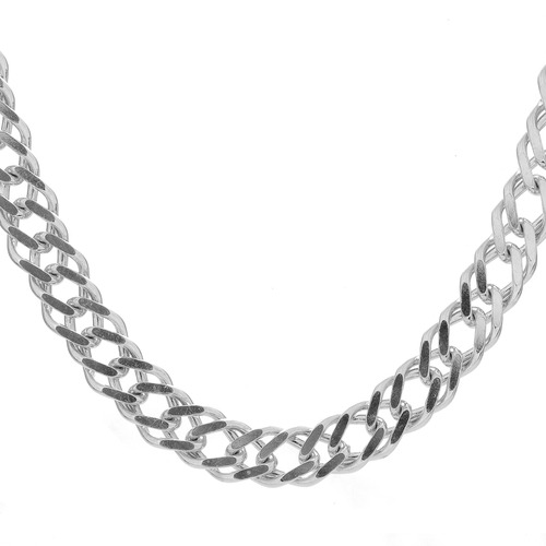 Silver 50cm Gents Bevelled Curb Chain