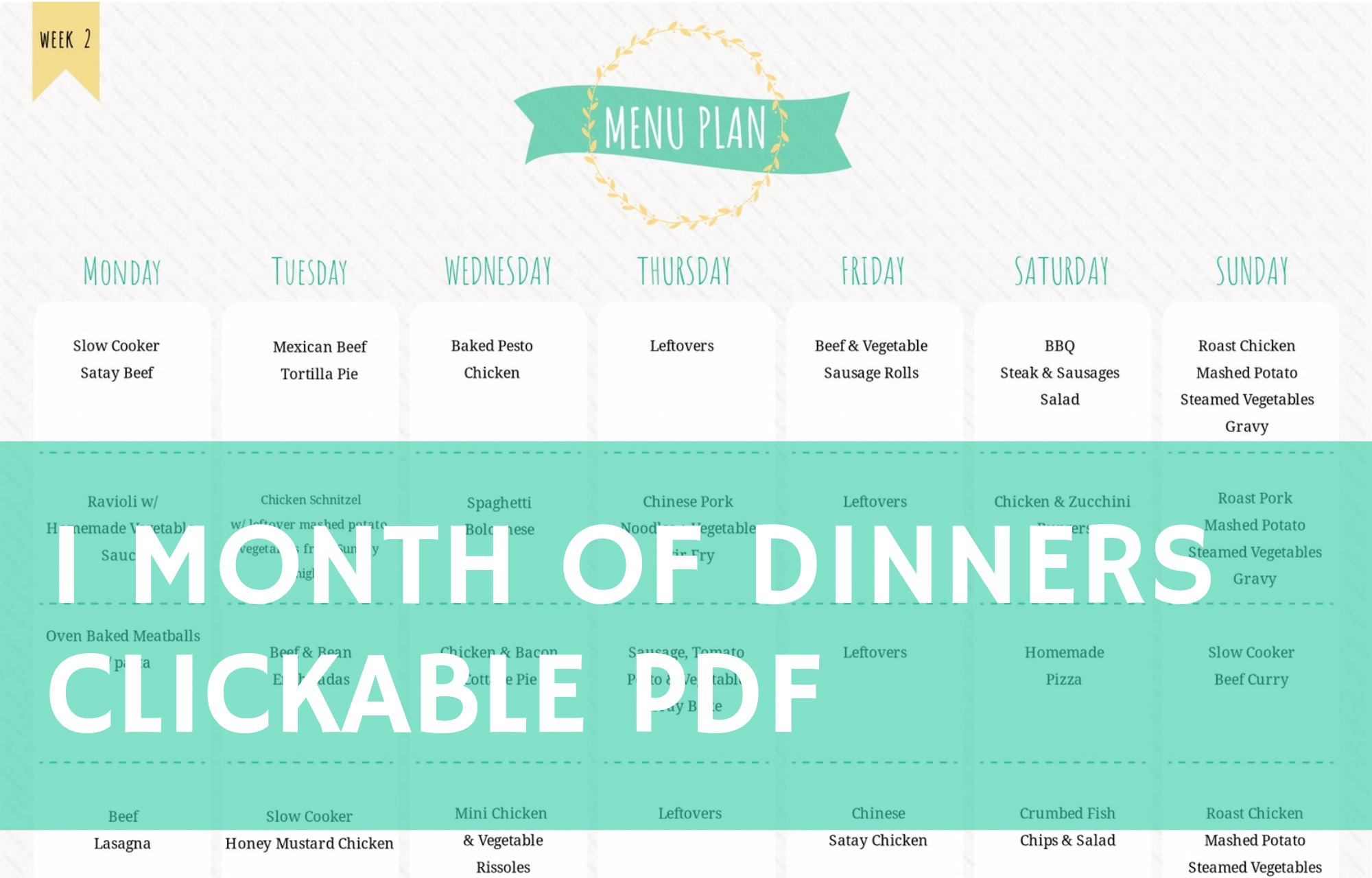 1 Month of Dinners - Clickable PDF to Recipes
