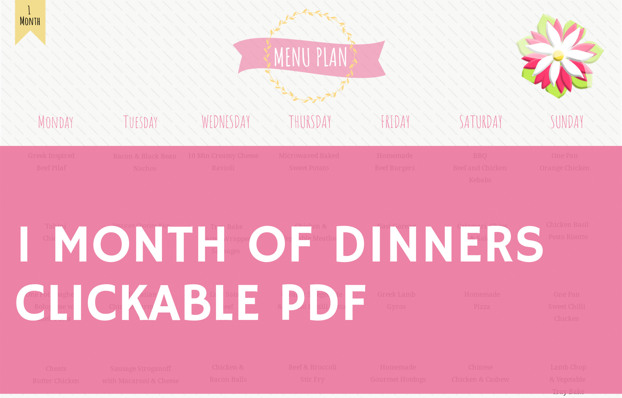 SPRING - 1 Month of Dinners - Clickable PDF to Recipes