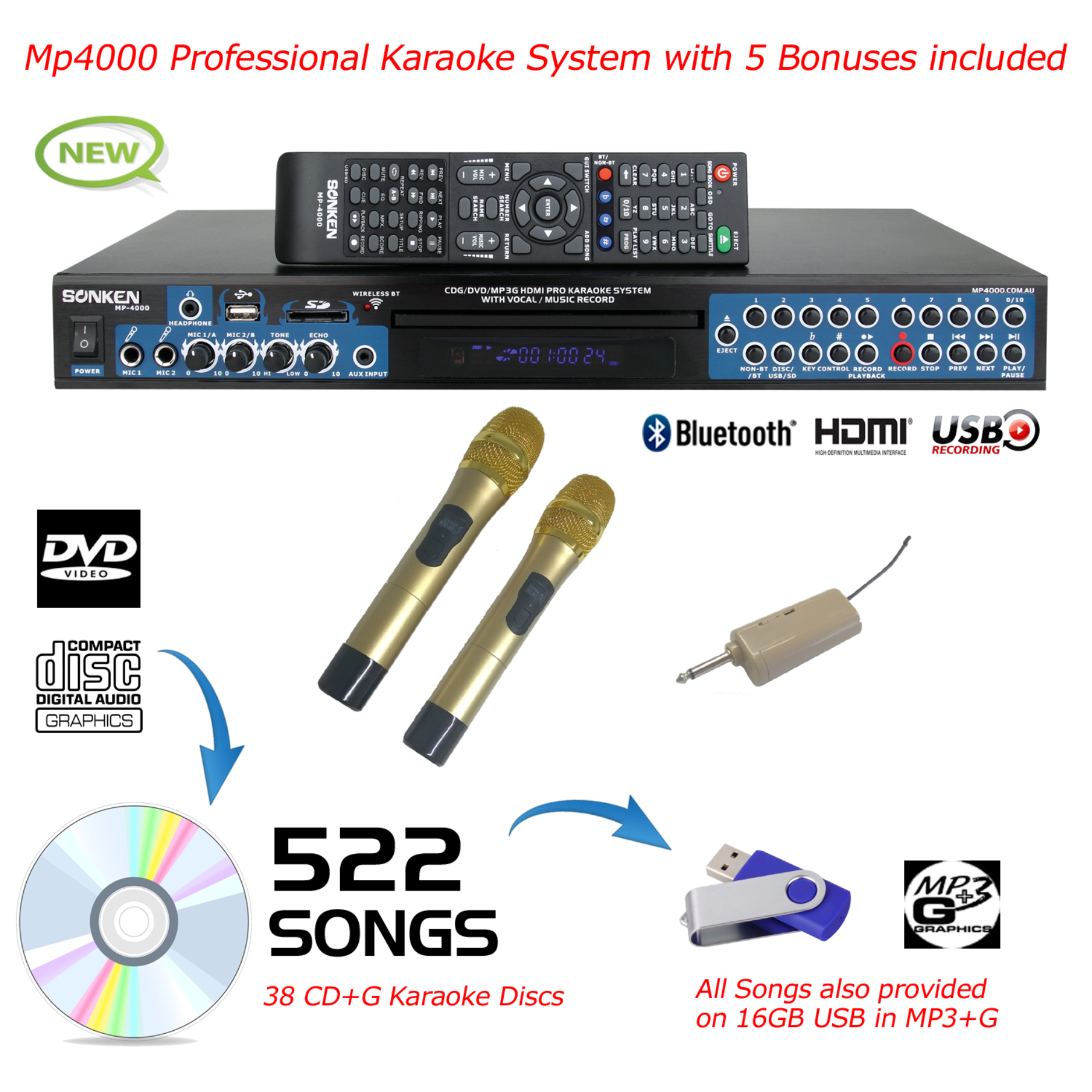 MP4000 + 522 SONGS + 2 WIRELESS MICROPHONES