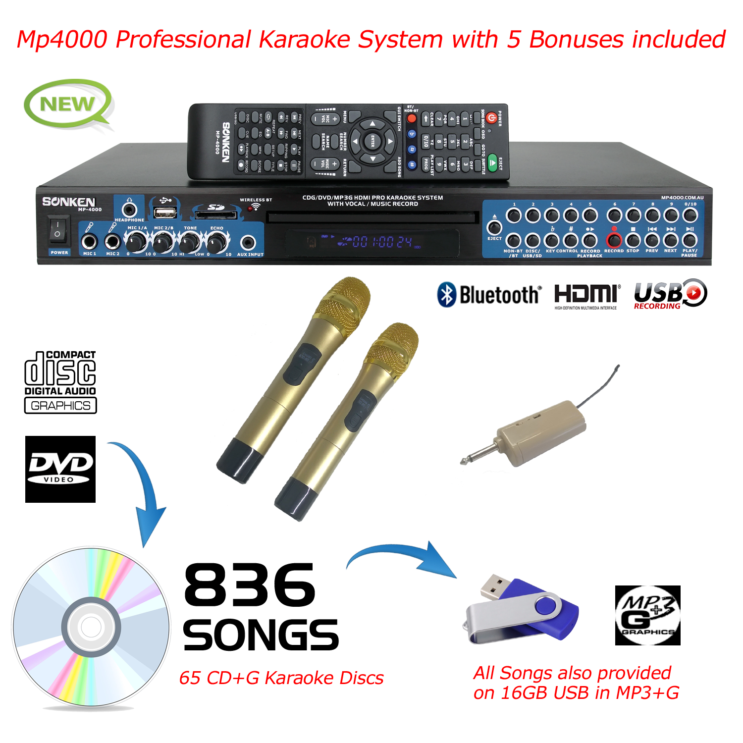 MP4000 + 836 SONGS + 2 WIRELESS MICROPHONES