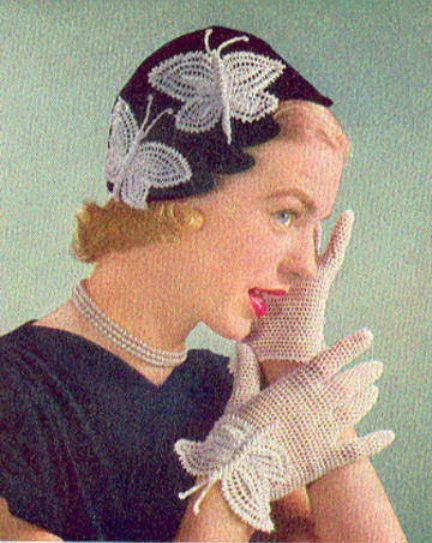 Vintage Crochet Pattern 1950's Gloves and Hat With Butterflies