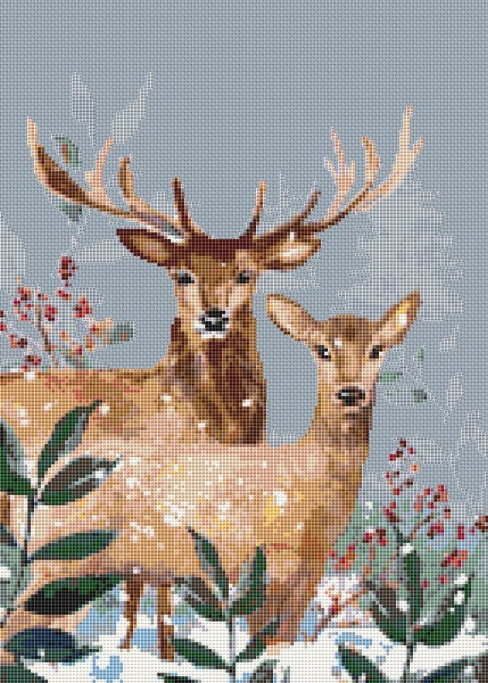 Deer in Winter Counted Cross Stitch Pattern