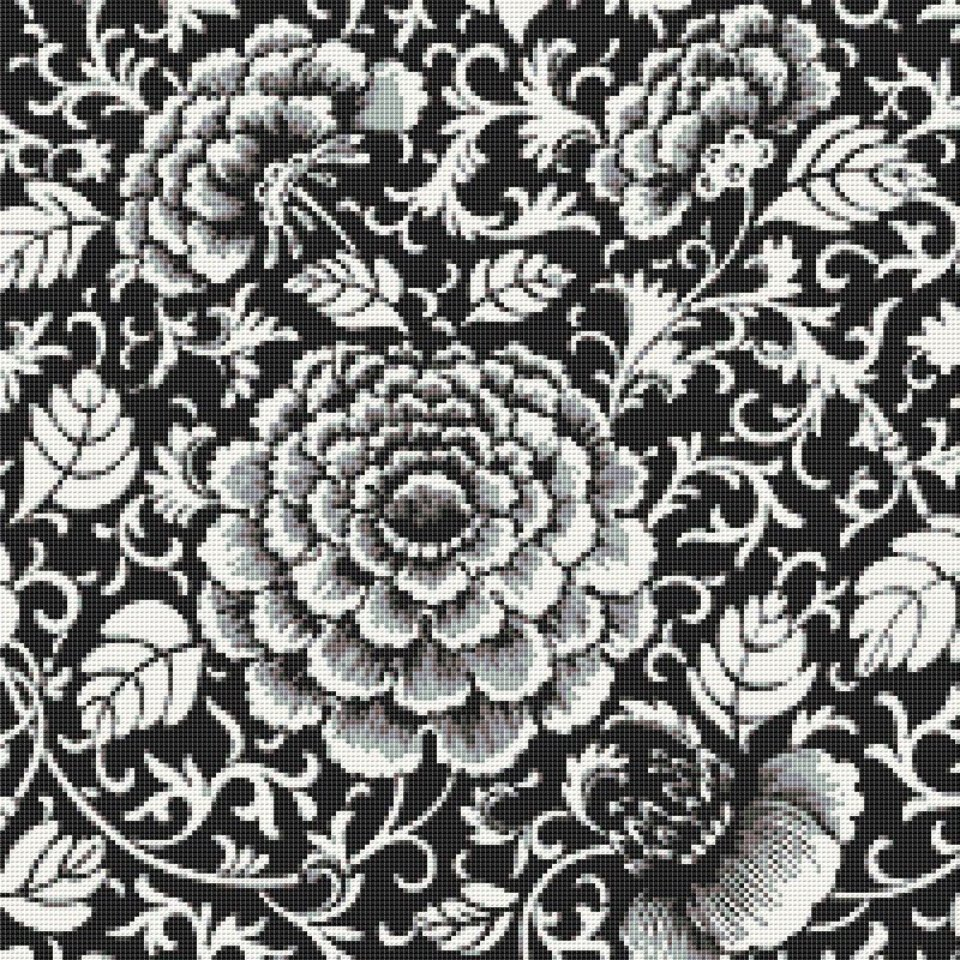 Renaissance Flowers in Black and White Cross Stitch Pattern