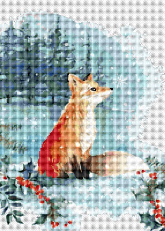Fox In The Snow Counted Cross Stitch Pattern