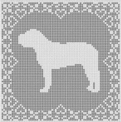 Mastiff Dog FILET CROCHET PATTERN Doily Afghan Picture