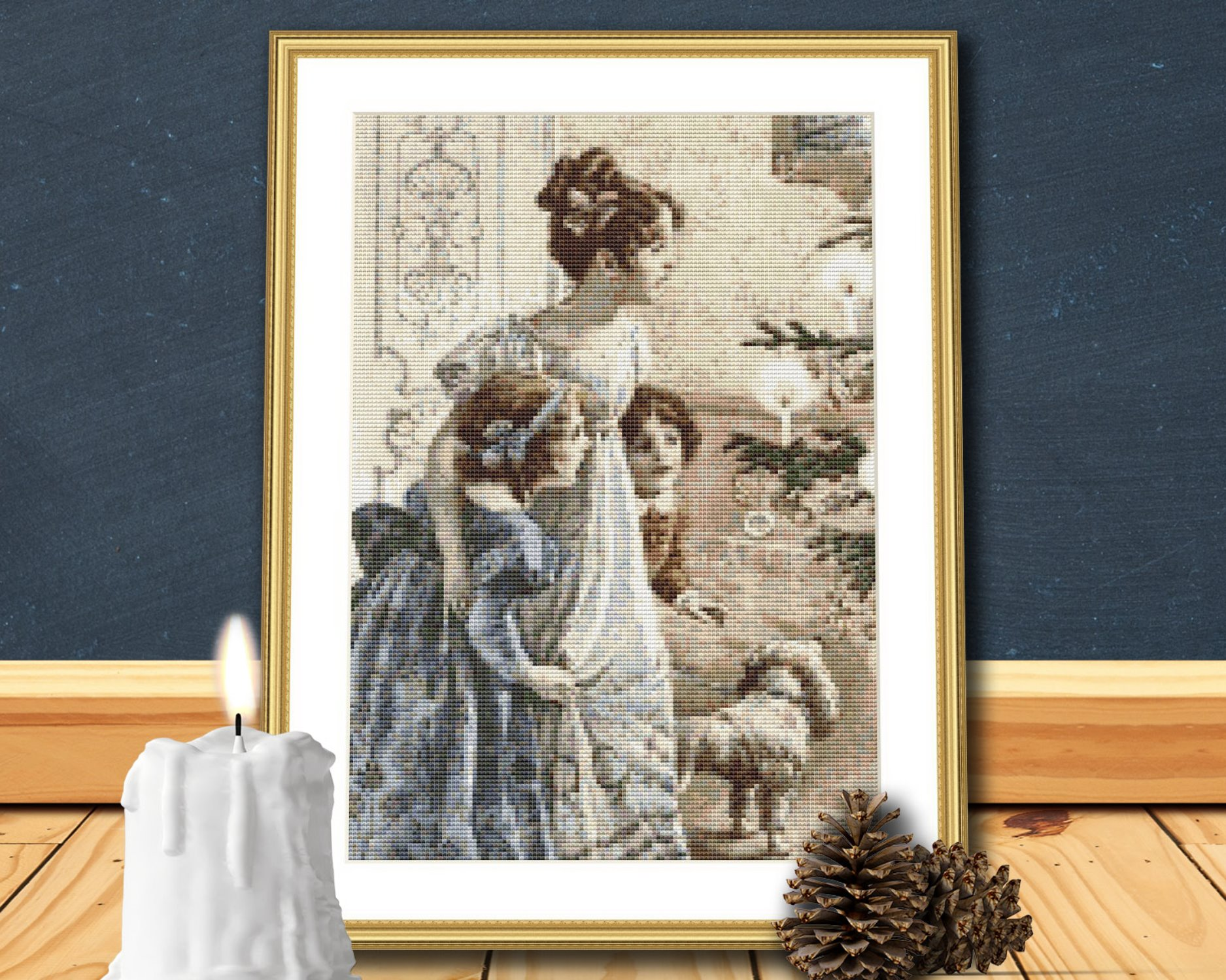 Victorian Mother and Children Christmas Cross Stitch Pattern