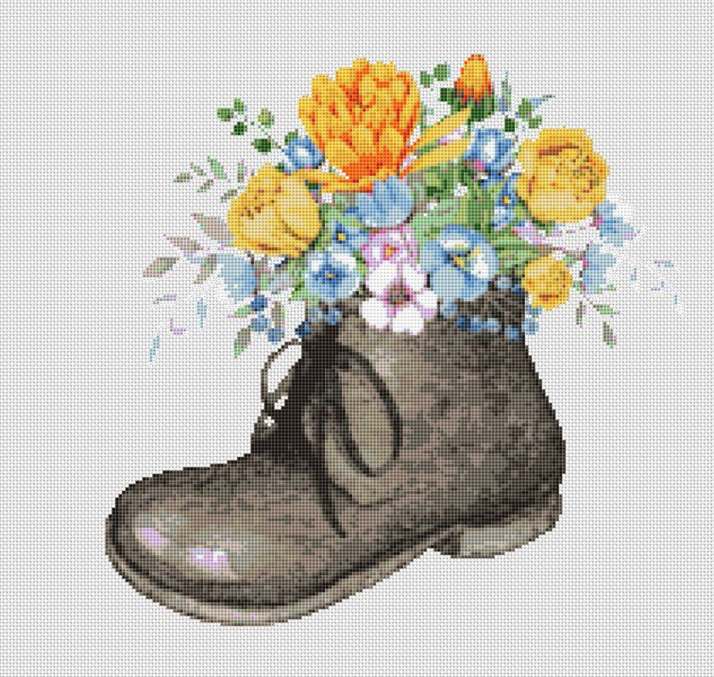 Old Fashioned Boot With Flowers Left Foot Cross Stitch Pattern