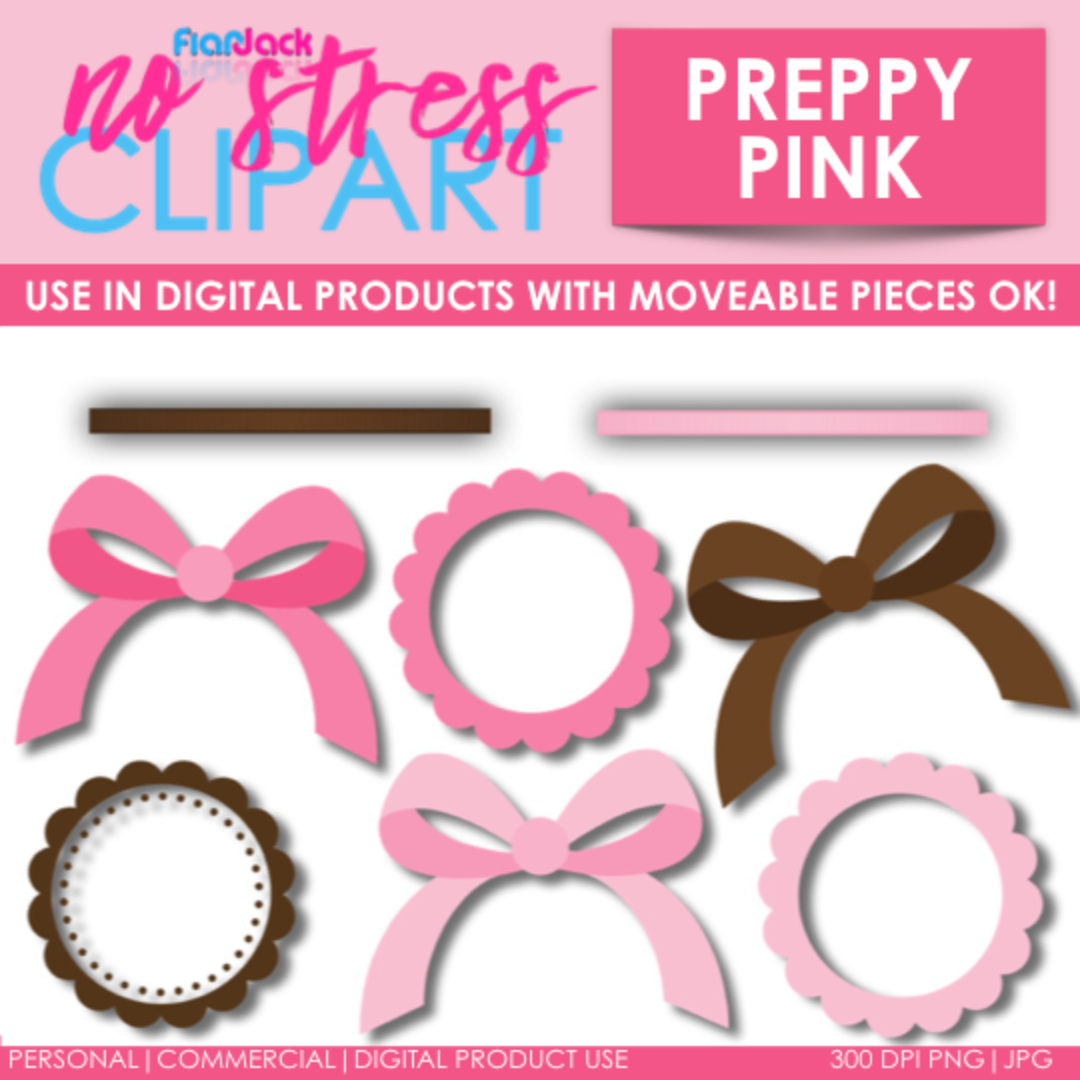 Preppy Pink Design Elements