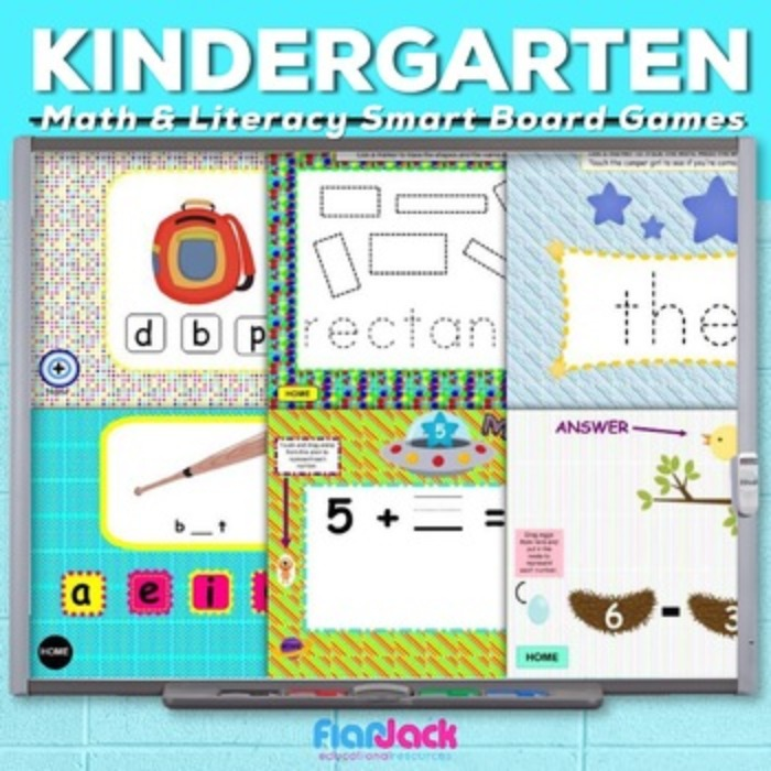 Kindergarten Math and Literacy SMART BOARD Game Bundle