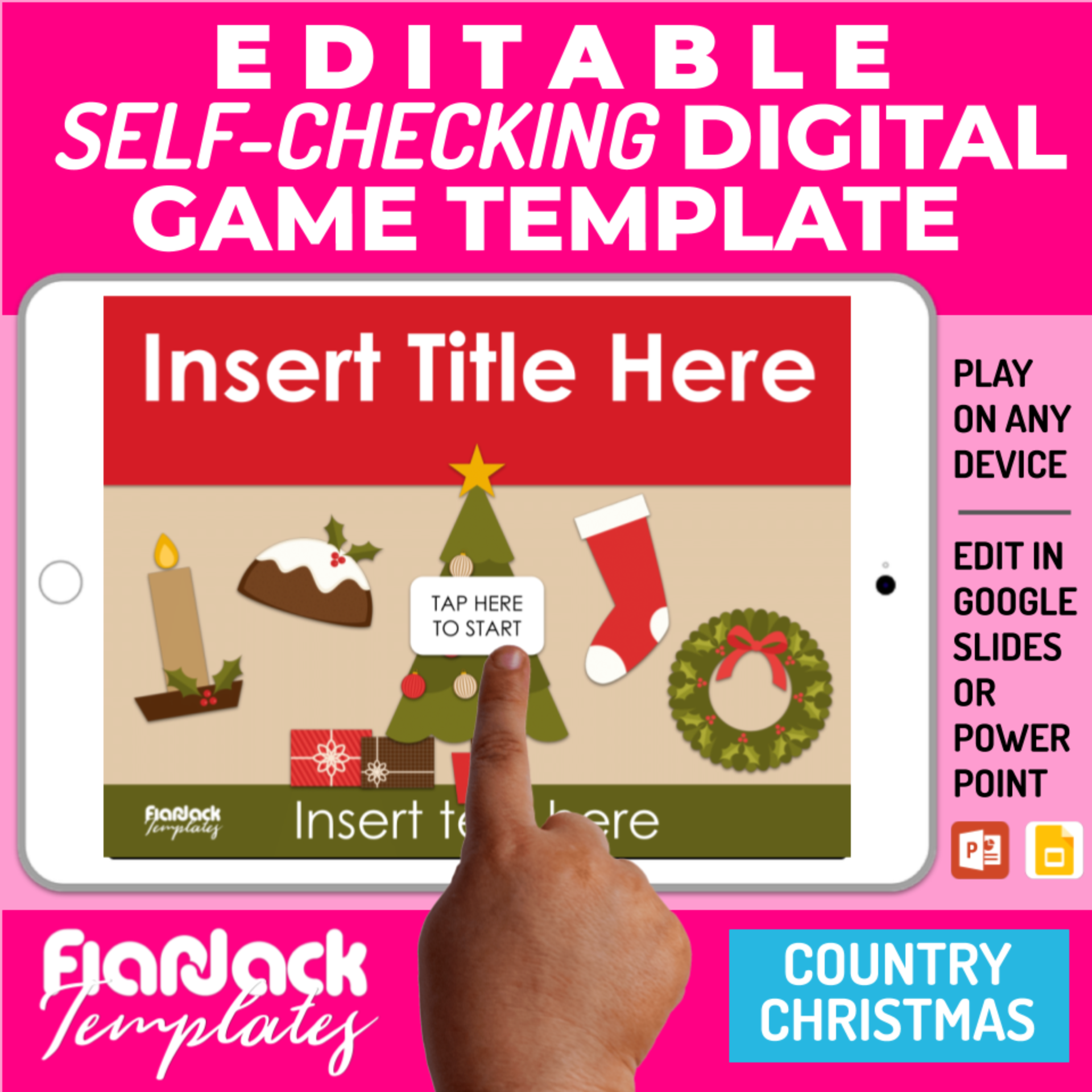 Editable Google Slides PowerPoint Game Templates CHRISTMAS Bundle