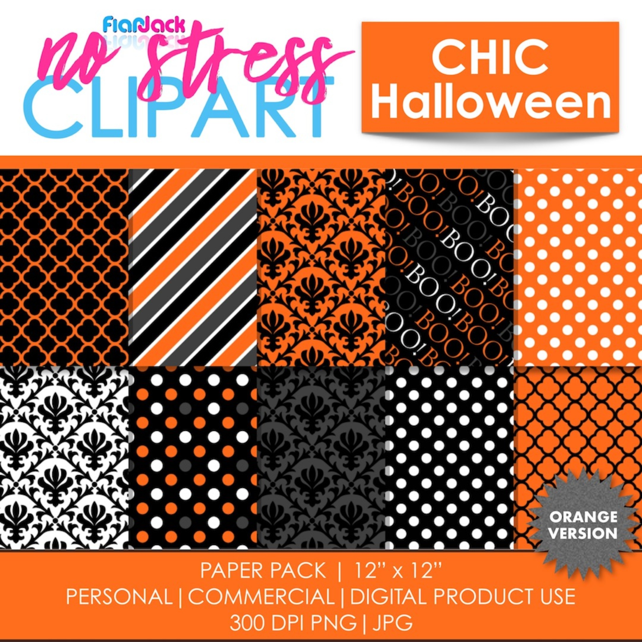 Chic Halloween Orange Digital Papers