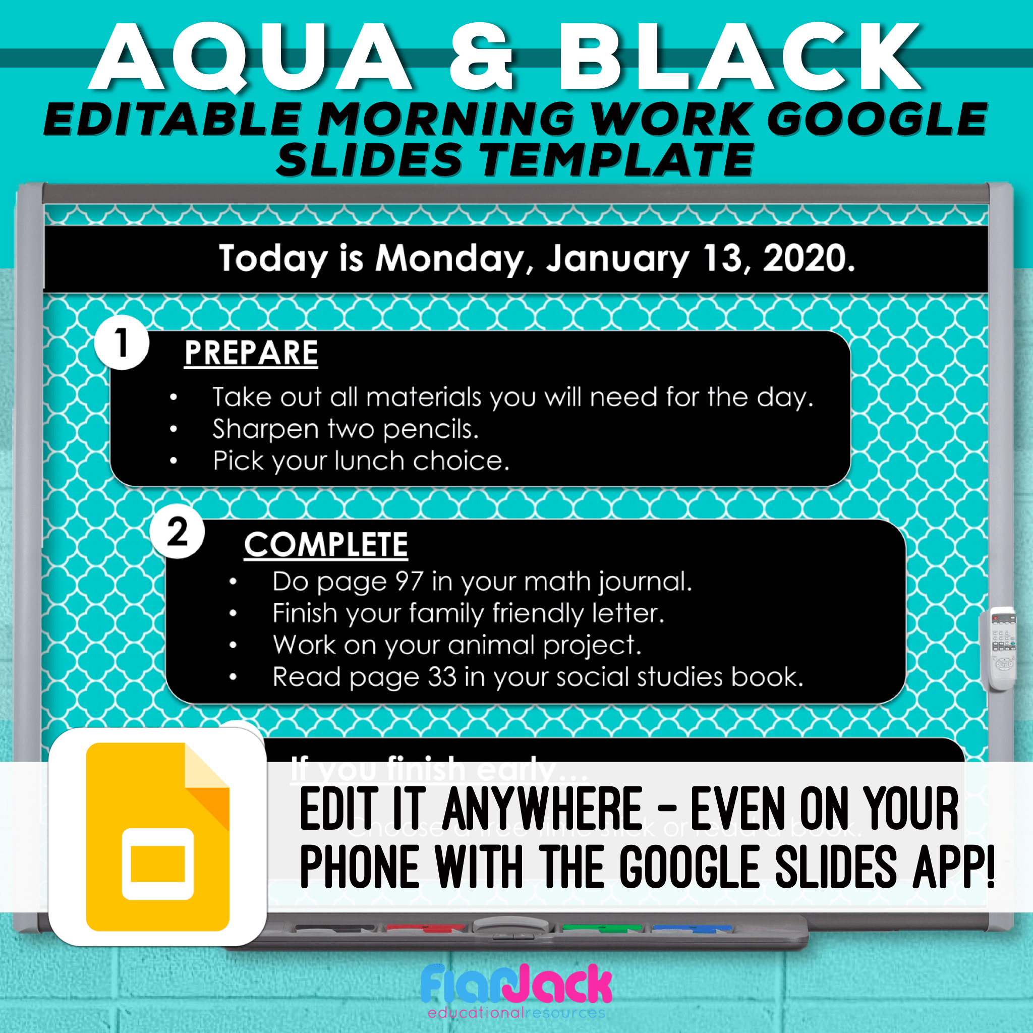 Editable Google Slide Templates | Aqua And Black