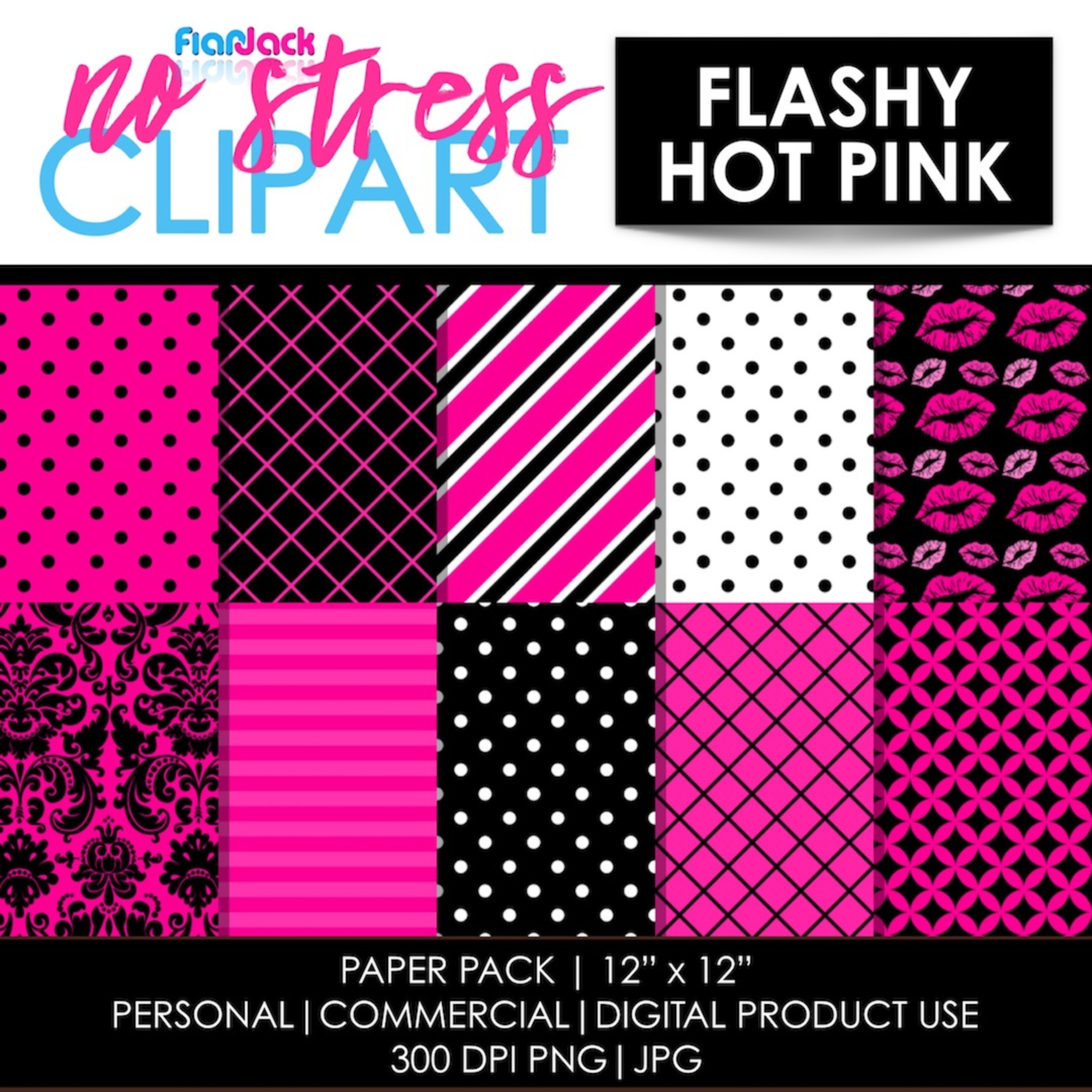 Flashy Hot Pink Digital Papers