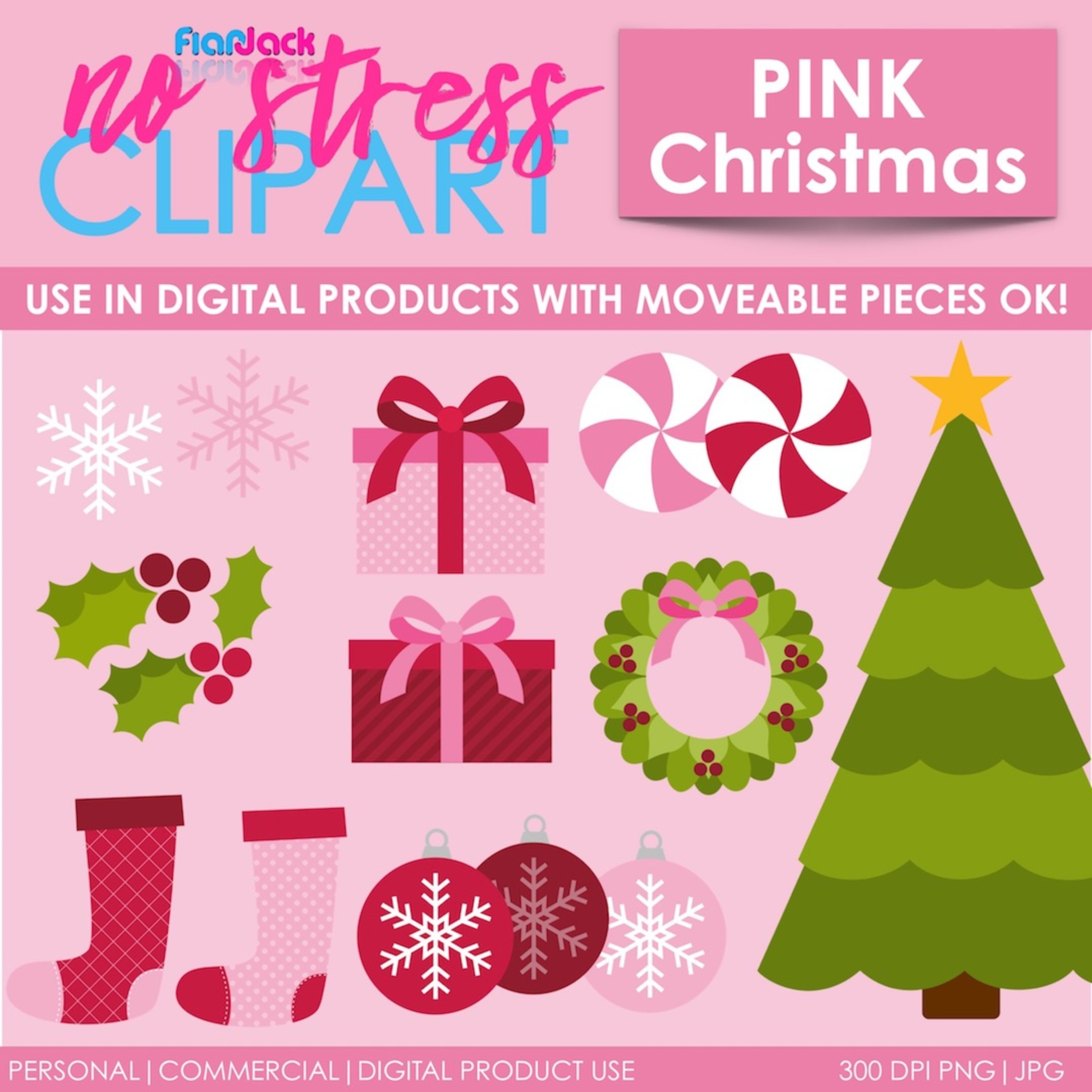 Pink Christmas Clipart