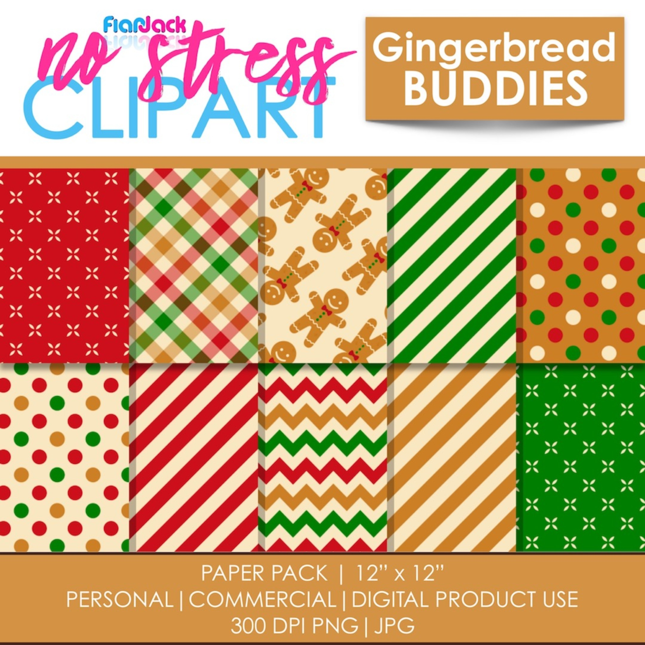 Gingerbread Buddies Digital Papers