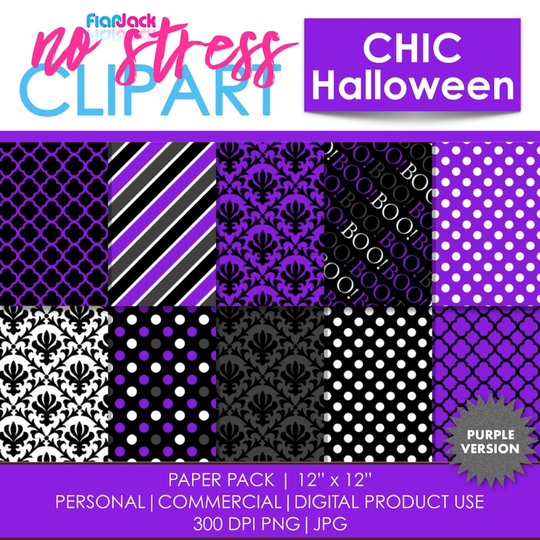 Chic Halloween Purple Digital Papers