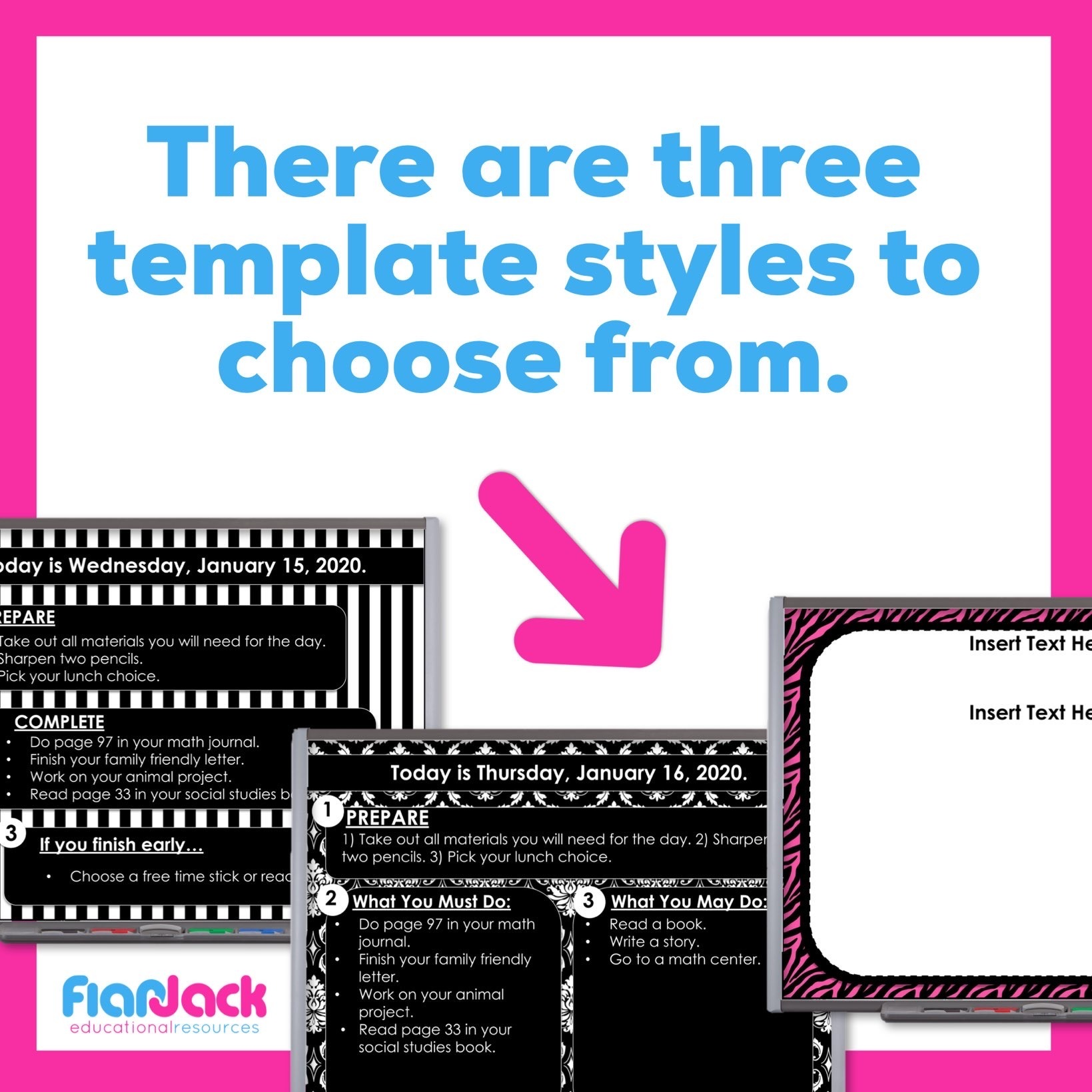 Editable PowerPoint Templates   Pink and Black