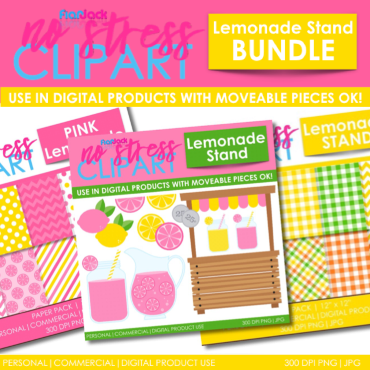 Lemonade Stand Clipart Plus Digital Papers BUNDLE