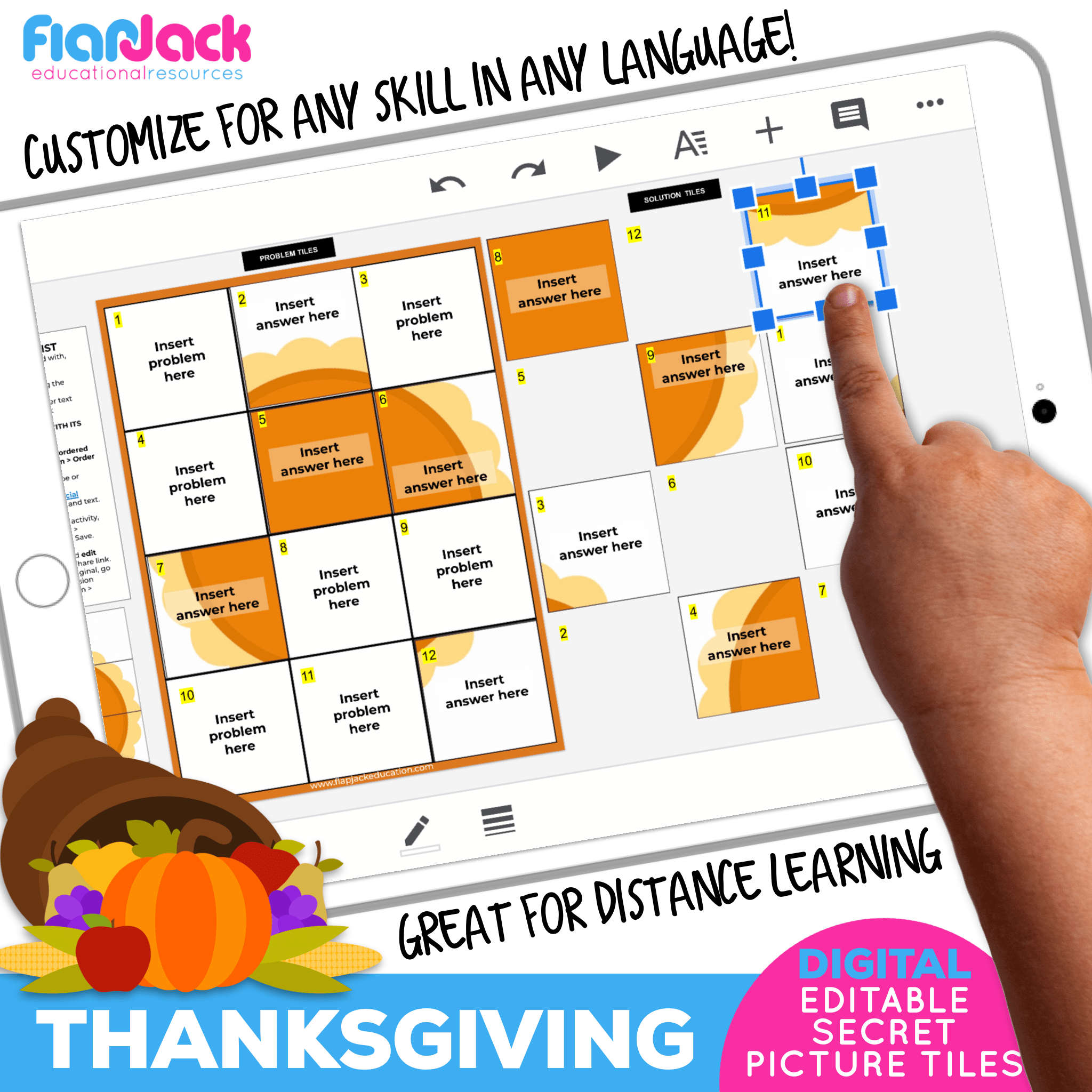 Digital Editable Google Slide Secret Picture Tiles | Thanksgiving