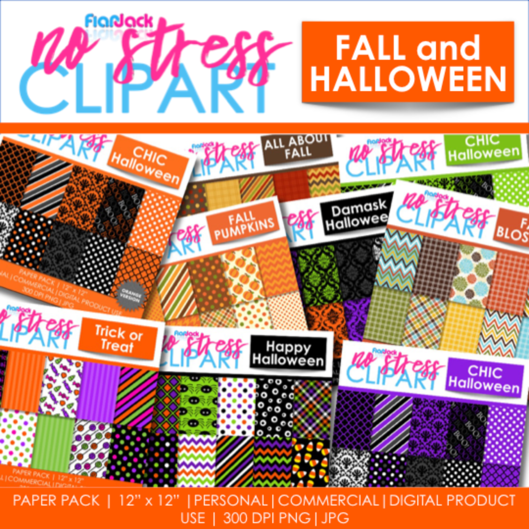 Fall Halloween Digital Papers BUNDLE