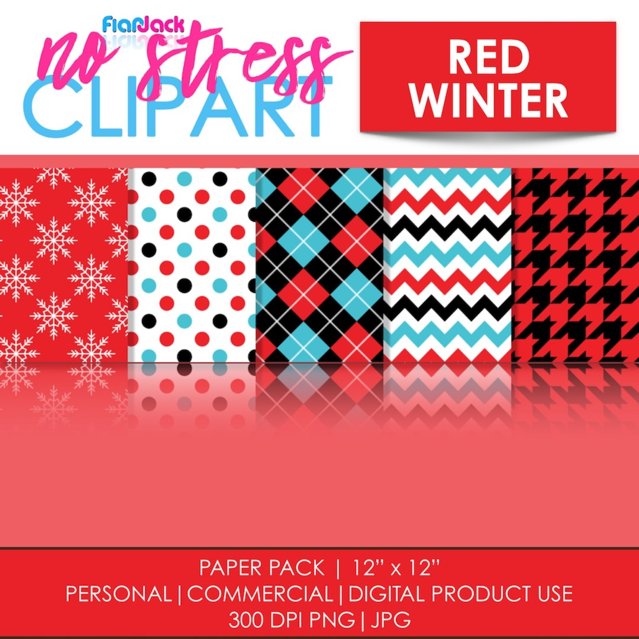 Red Winter Digital Papers