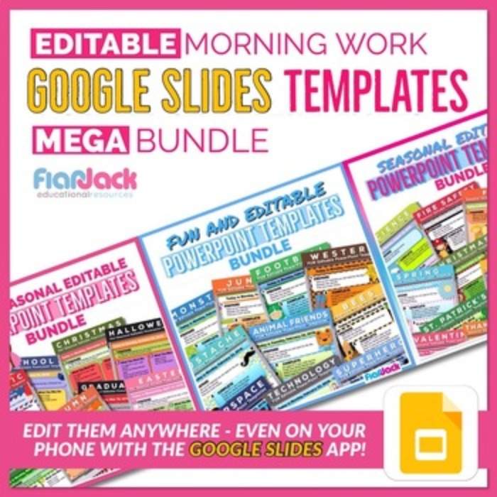 Editable Morning Work GOOGLE SLIDES Templates MEGA Bundle