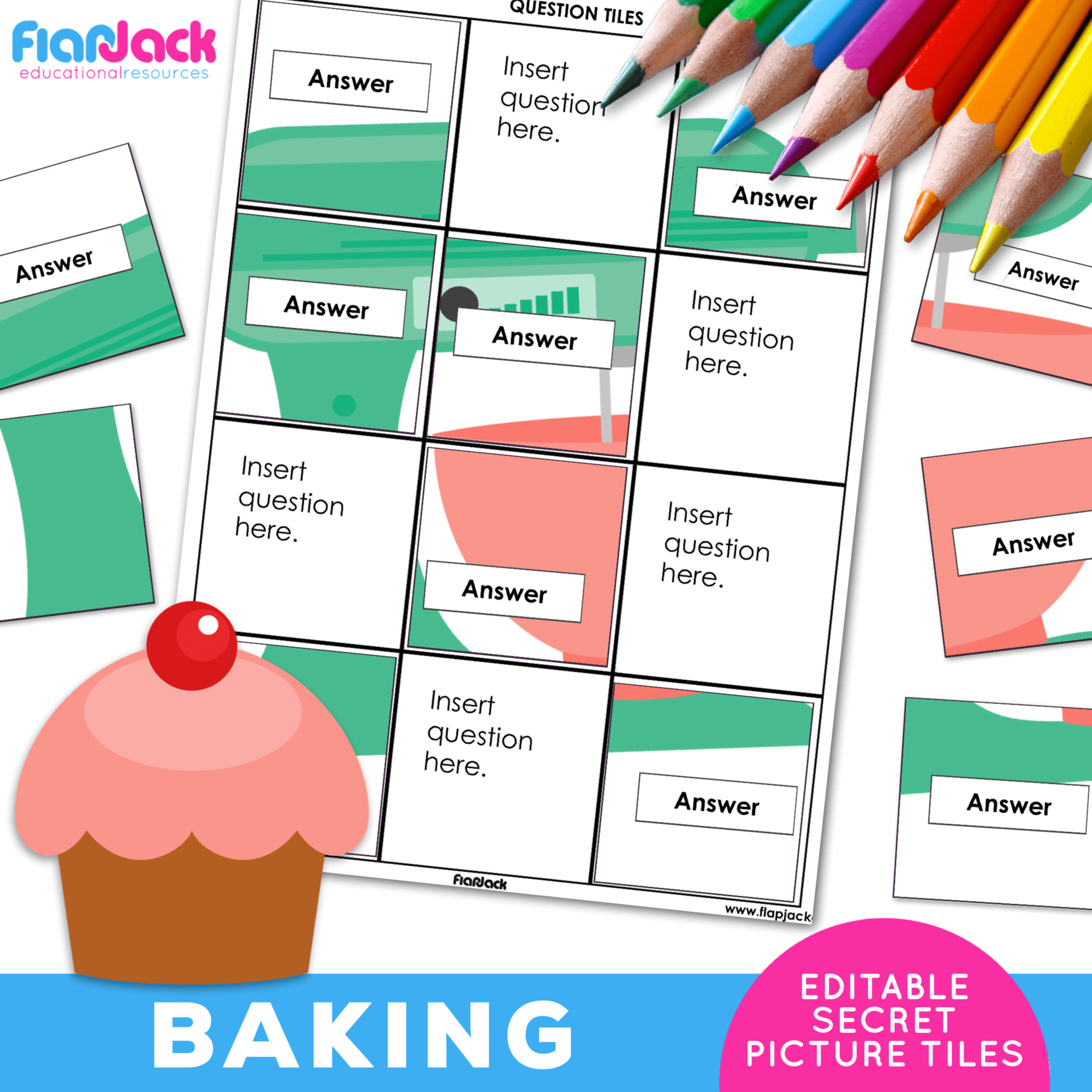 EDITABLE Worksheets | Secret Picture Tiles | Baking