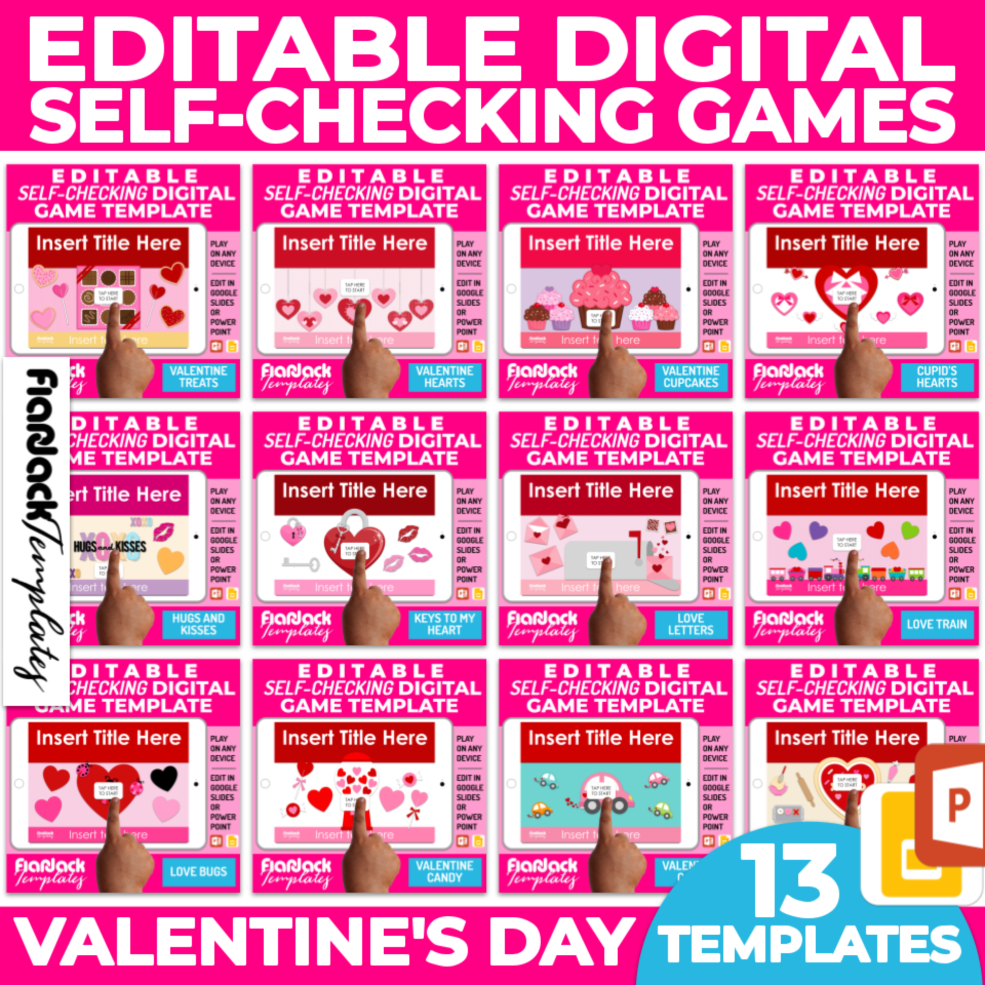 Editable Google Slides PowerPoint Game Templates VALENTINE'S DAY Bundle
