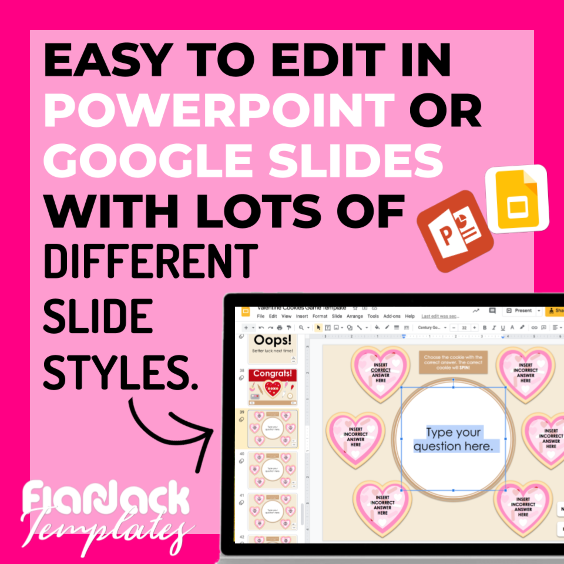 Digital Editable Self-Checking Google Slides Game Template | Valentine Cookies