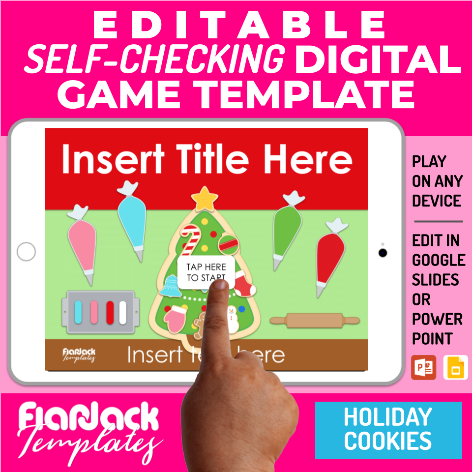 Digital Editable Self-Checking Google Slides Game Template | Holiday Cookies - S2