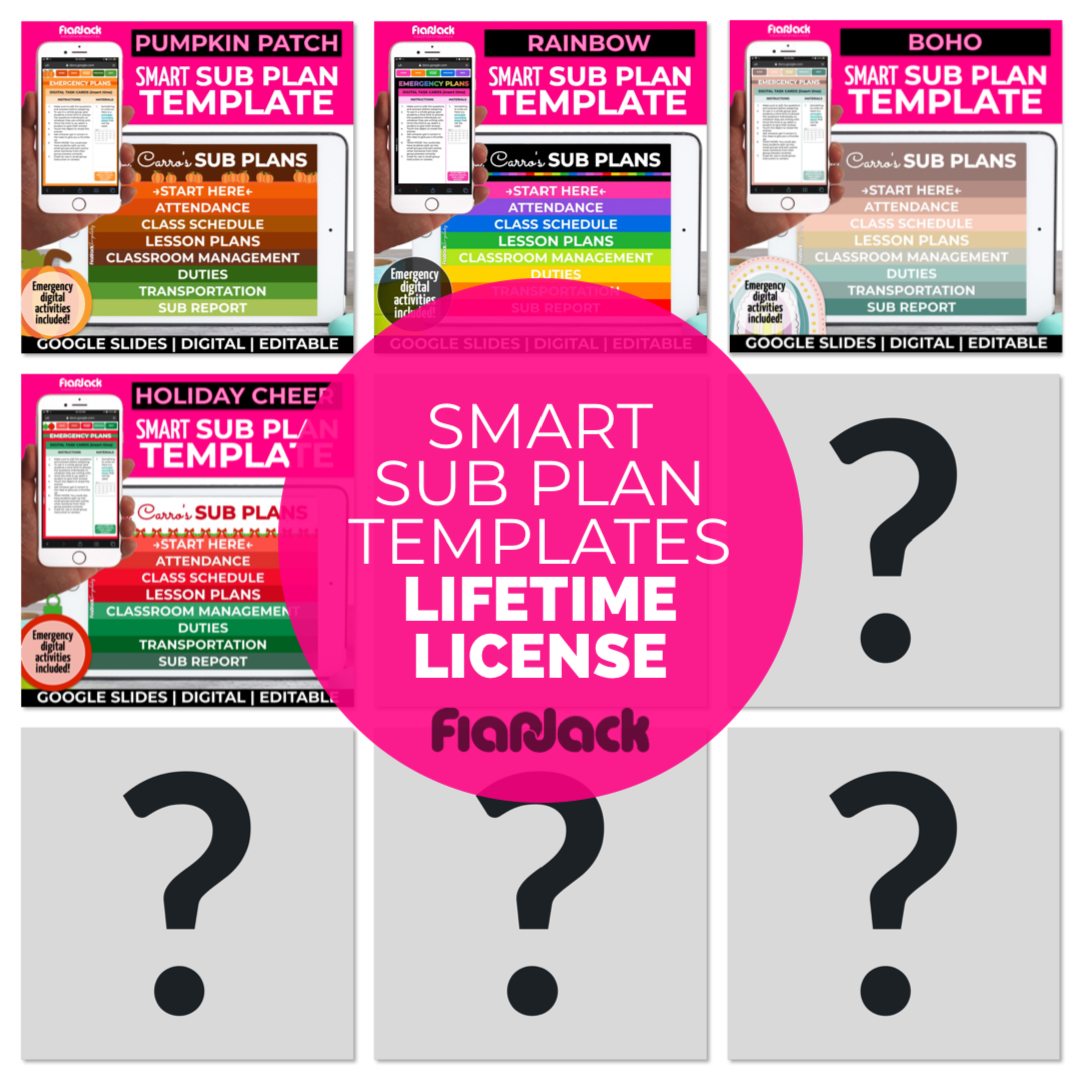 Digital Editable Smart Sub Plan Google Slides Templates | LIFETIME LICENSE