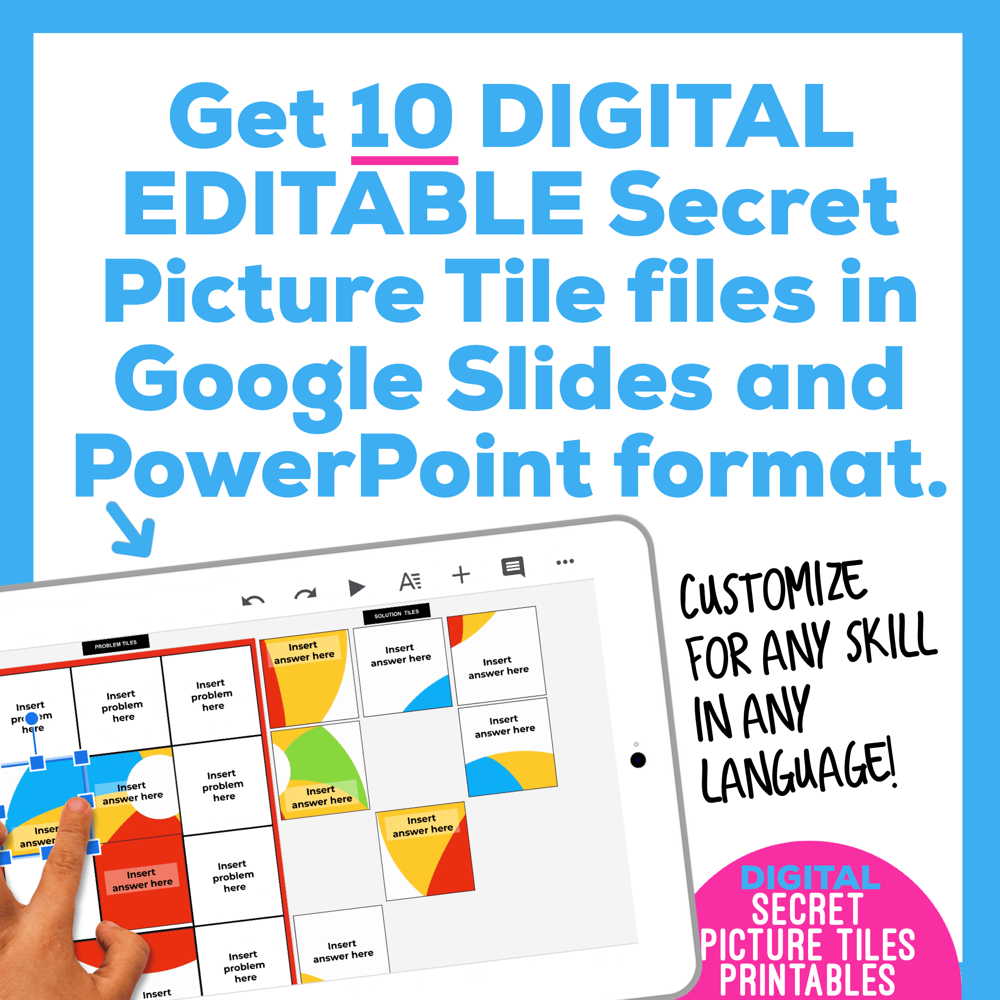 Digital Editable Google Slide Secret Picture Tiles | Summer