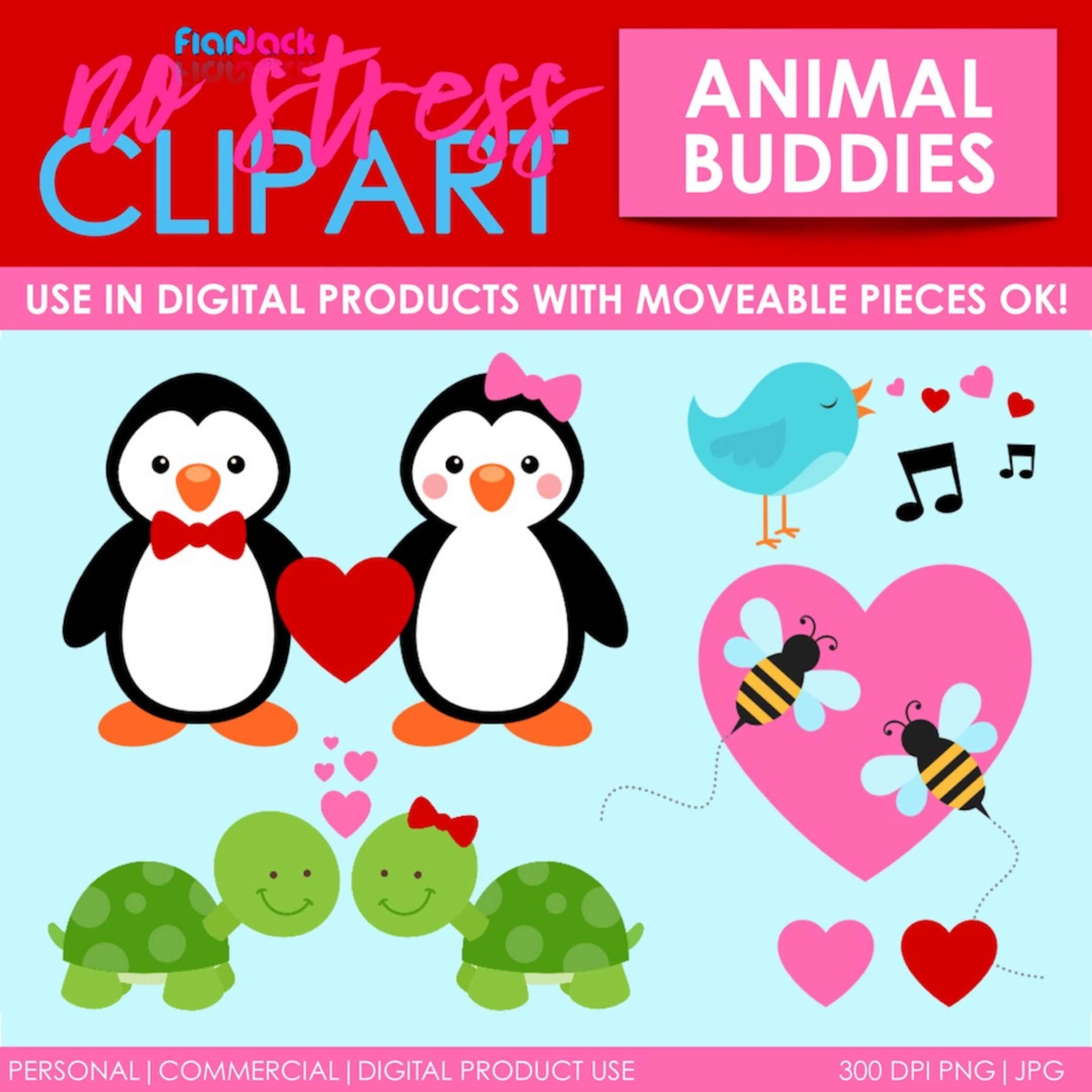 Valentine's Day Clipart and Digital Paper BUNDLE
