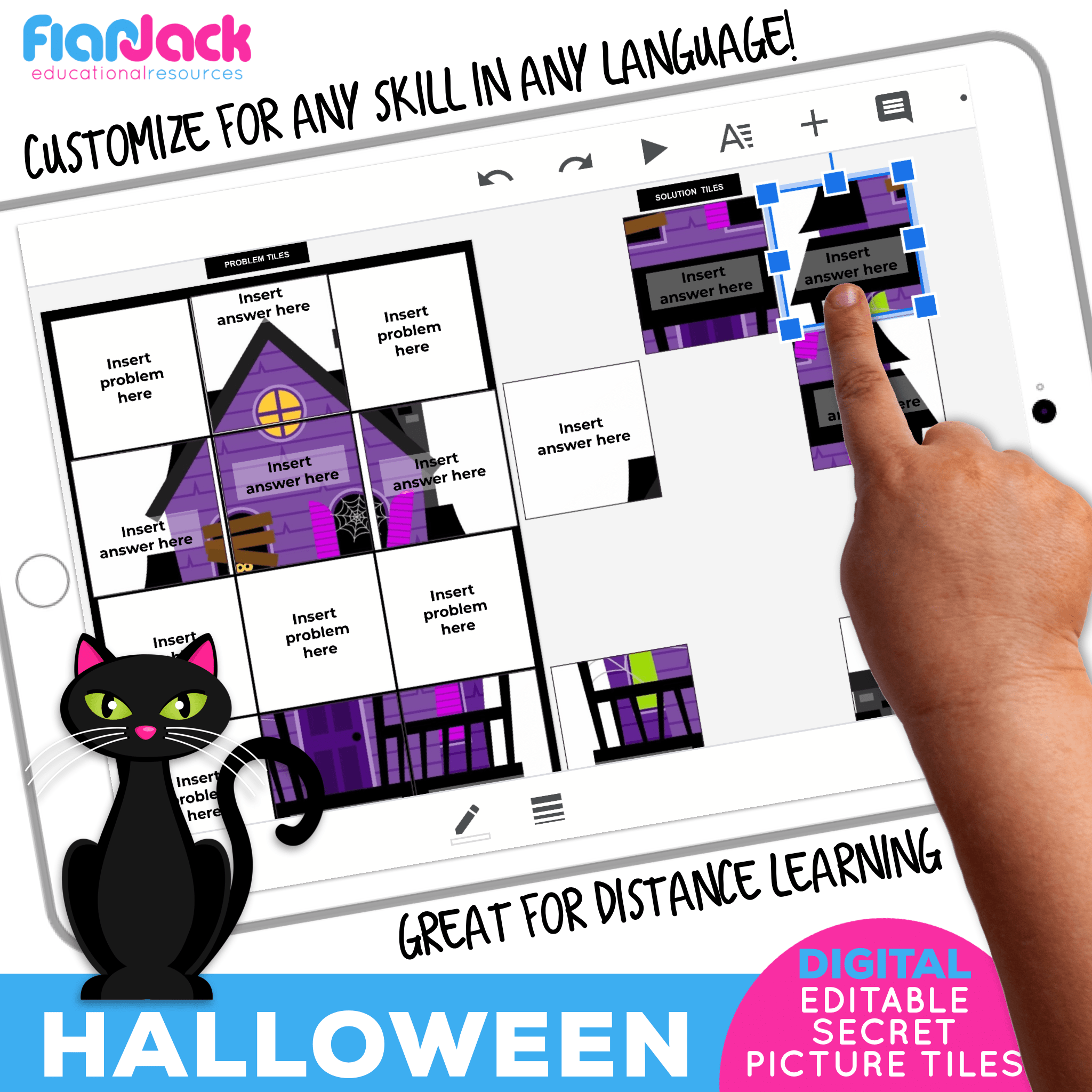 Digital Editable Google Slide Secret Picture Tiles | Halloween