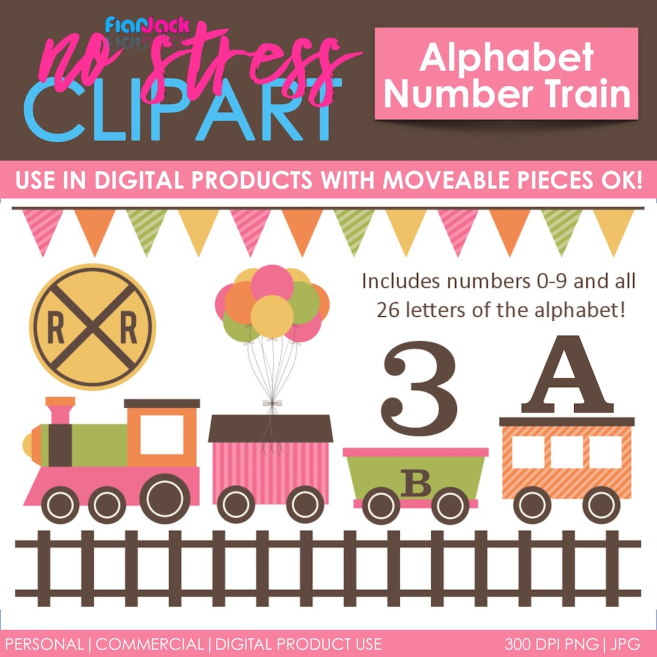Alphabet Number Train (Pink Set)