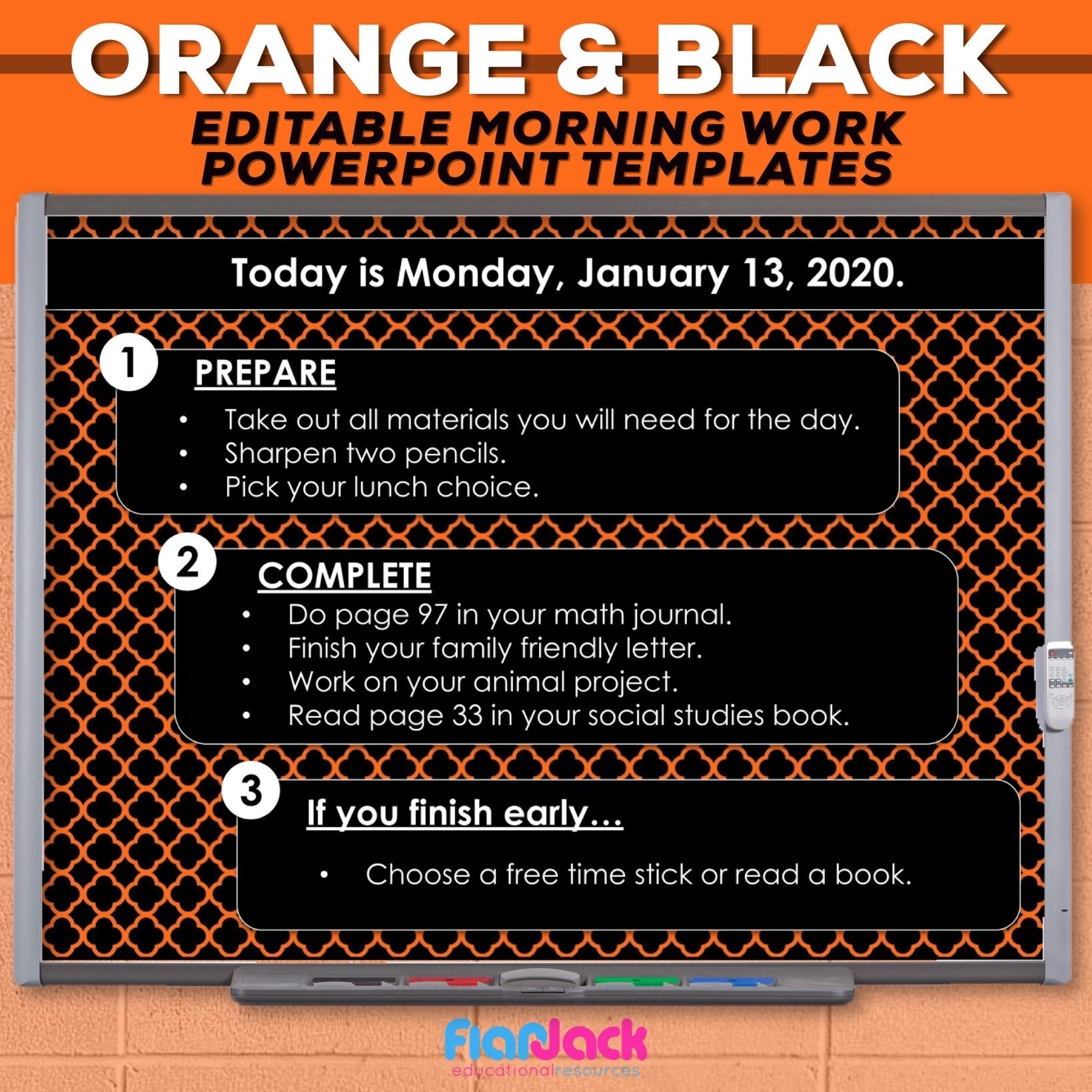 Editable PowerPoint Templates | Orange And Black