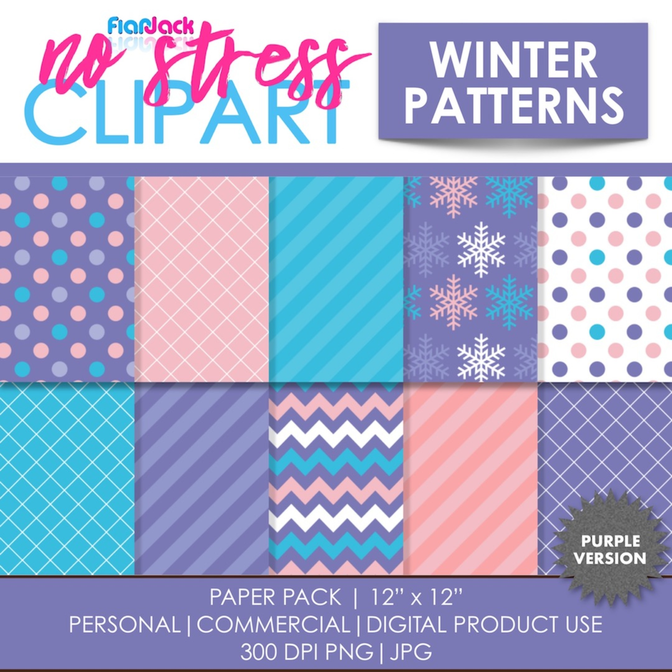Winter Patterns (Purple) Digital Papers