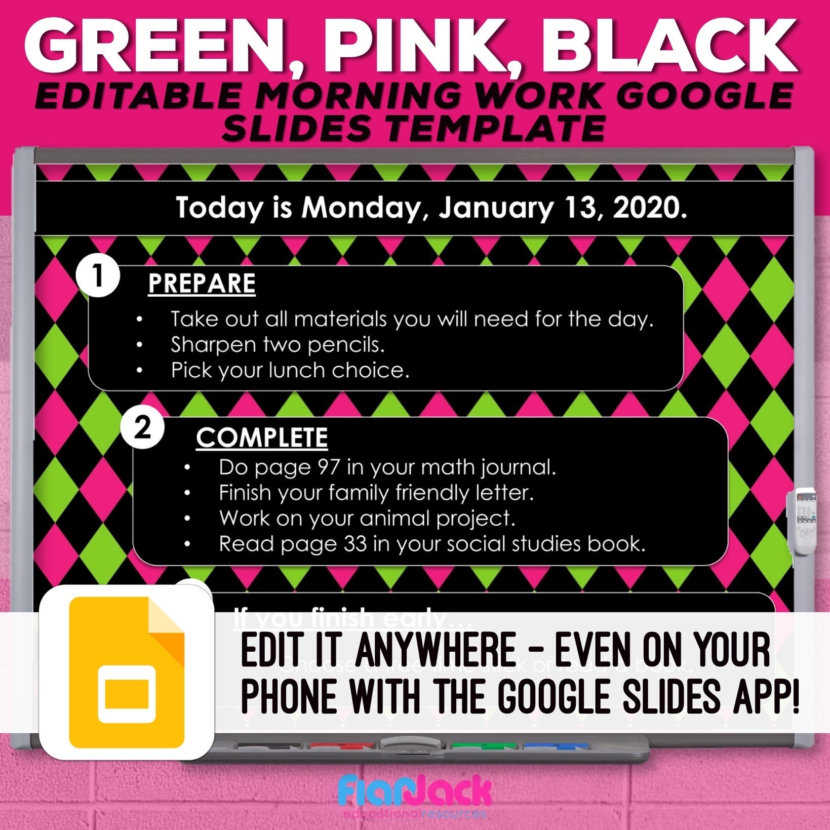 Editable Google Slide Templates | Green, Pink, And Black