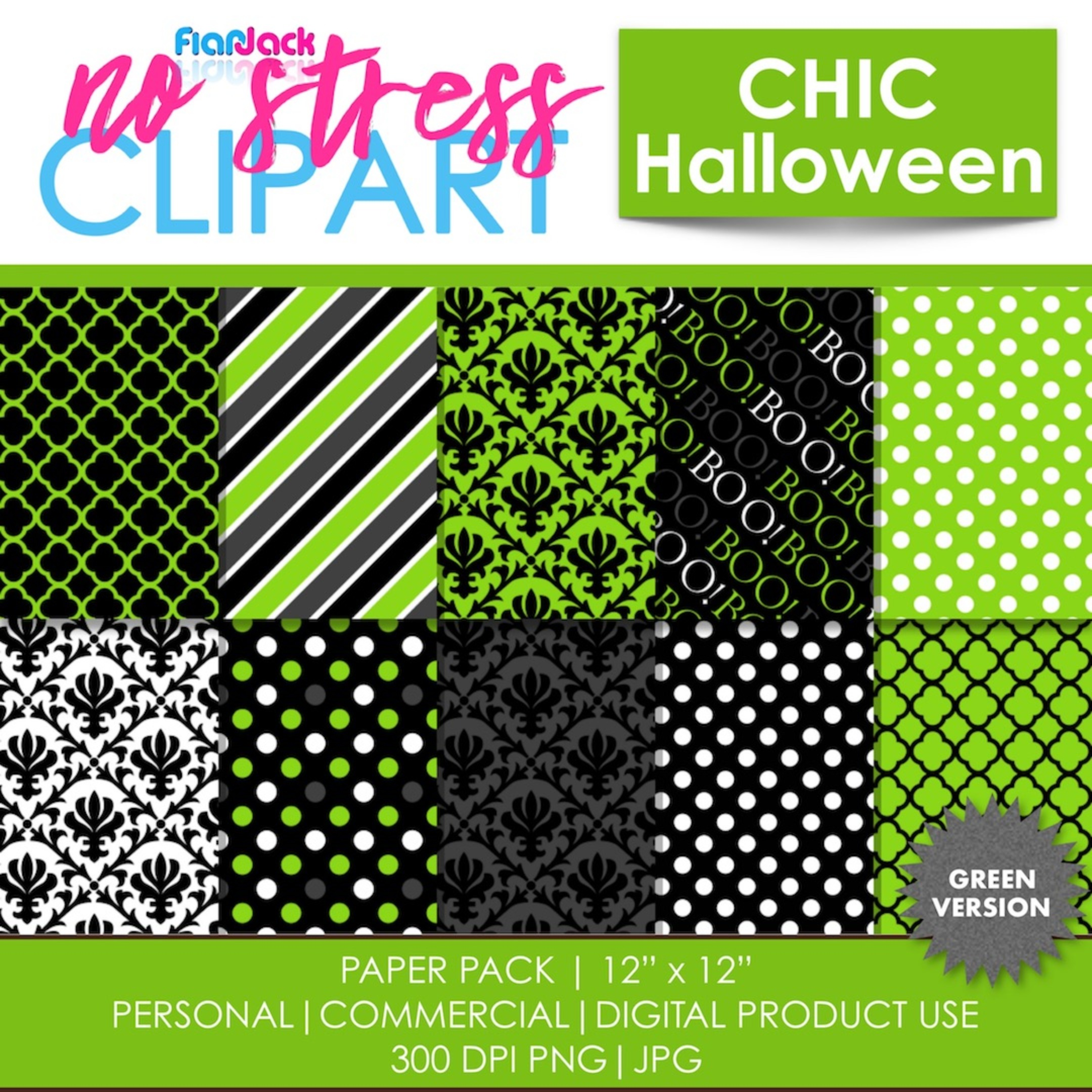 Chic Halloween Green Digital Papers