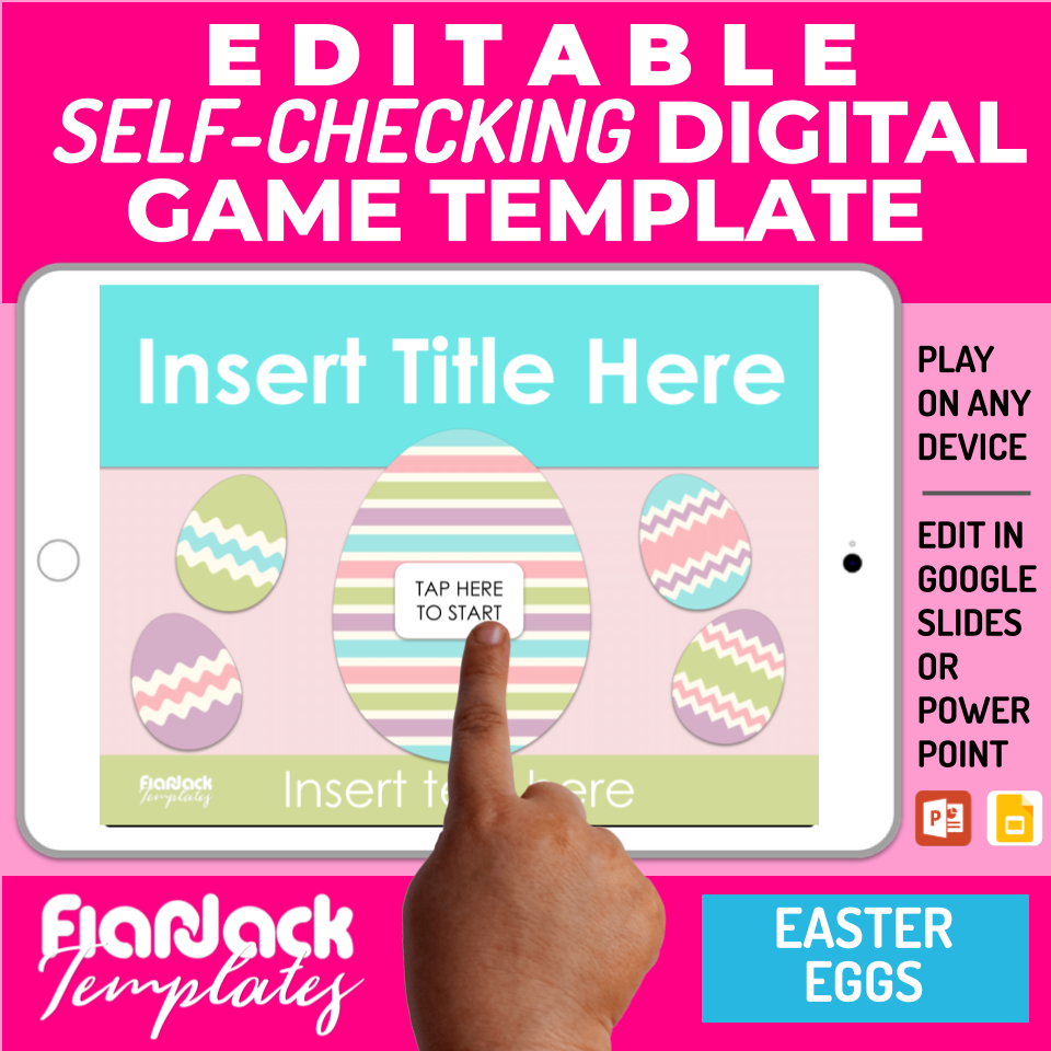Digital Editable Self-Checking Google Slides Game Template | Easter Eggs - S2