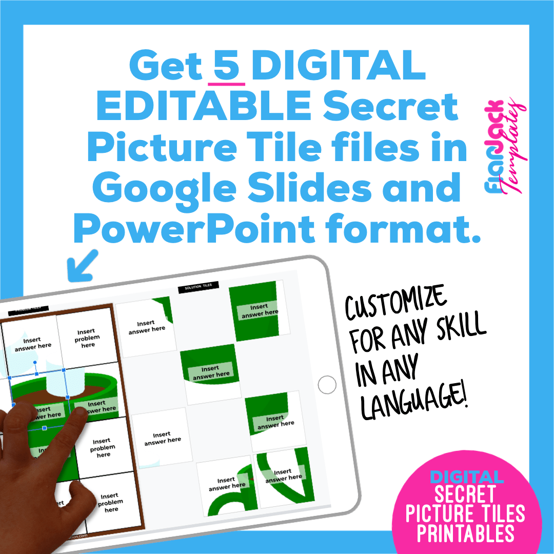 Digital Editable Google Slide Secret Picture Tiles | Hot Chocolate