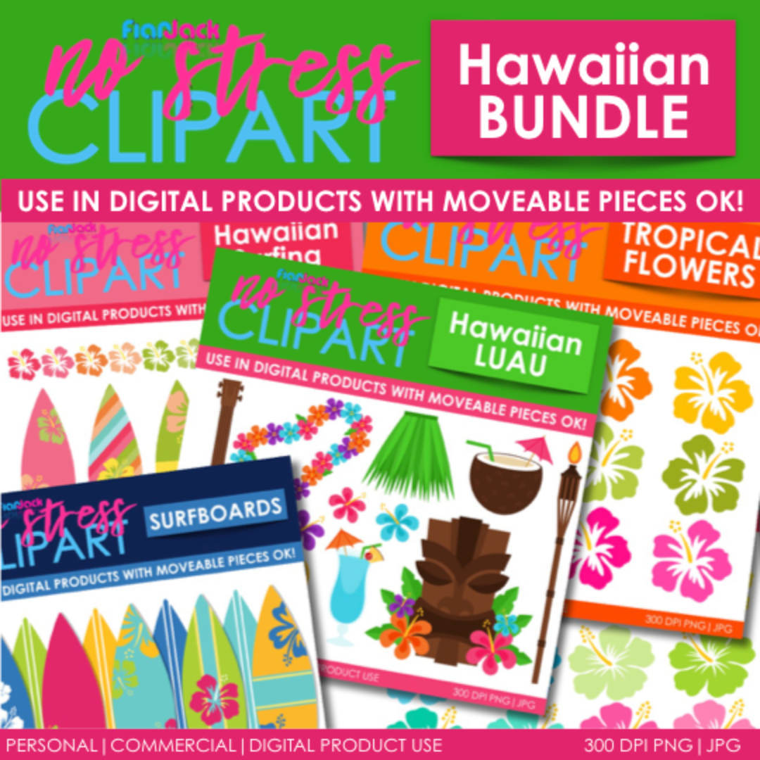 Hawaiian Clipart Plus Digital Papers BUNDLE